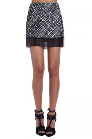 Falda estampada con malla metalica