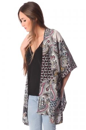 Kimono con estampado de cachemir gris