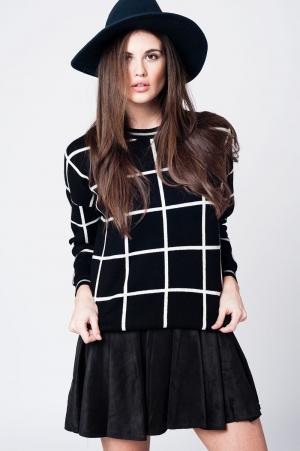 Jersey de punto negro a cuadros con puños y bajo ajustado