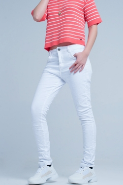 Boyfriend jeans slim bianco