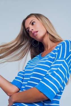 Maglione a righe Blu con scollo a V