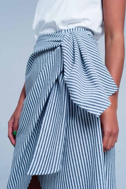 Blue striped midi skirt with a bow