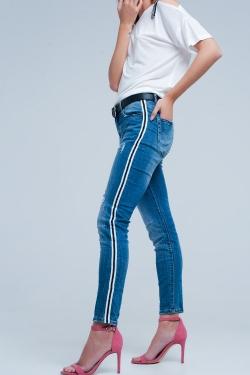 Dark denim jeans with side stripe