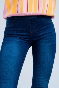 High rise skinny jeggings in dark wash