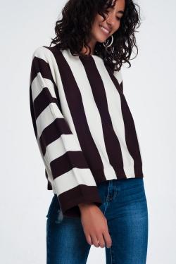 Jersey con cuello redondo a rayas monocromáticas marron