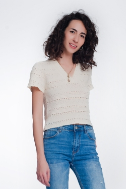 Jersey de punto con detalle de croché texturizado