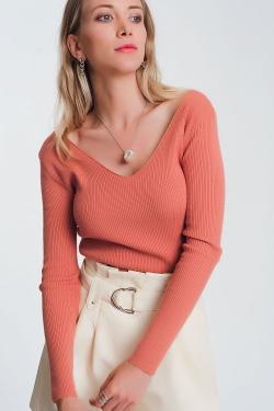 Maglione rosa arancione con scollo a V sul retro