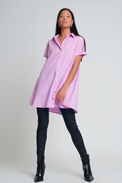 short sleeves oversized poplin shirt in purple