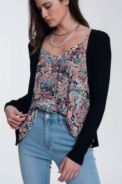Button front cropped knit cardigan in black