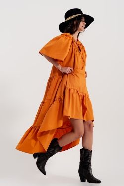 Tiered cotton poplin smock maxi dress in orange