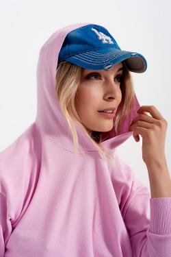 Sueter rosa de manga larga con capucha