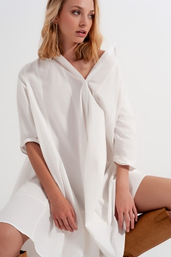 Vestito camicia popeline oversize bianco