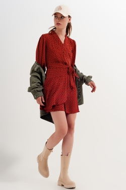 Wrap mini dress in geo print